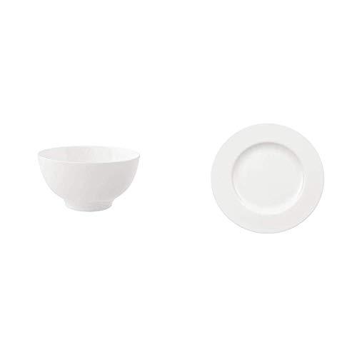 Villeroy & Boch - Royal Schale, 750 ml, 15 cm, stilvoll servieren und genießen & Royal Frühstücksteller, 22 cm, stilvoll servieren und genießen, Premium Porzellan, spülmaschinen-, mikrowellengeeignet