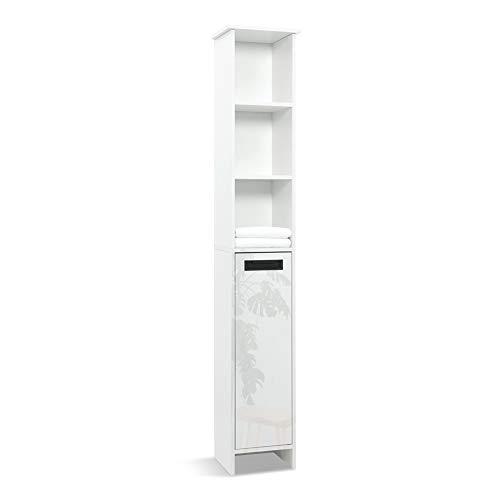 Mondeer - Meuble Colonne de Salle de Bain - Moderne, Bois, 1 Porte Brillante, 5 Étagères, 172H x 30L x 24P cm, Blanc