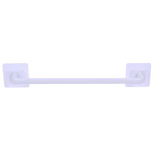 Angoily Toallero de Pared con Barra de Plástico para Baño sin Taladro Colgador de Toallas Soportes de Tela Pantalla de Almacenamiento para Baño Puertas de Cocina 34 Cm (Blanco)