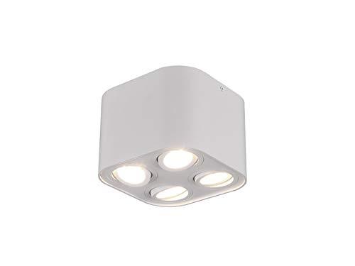 Trio - Faro da soffitto a Cilindro Geometrico con LED e Quattro faretti orientabili, Bianco Opaco