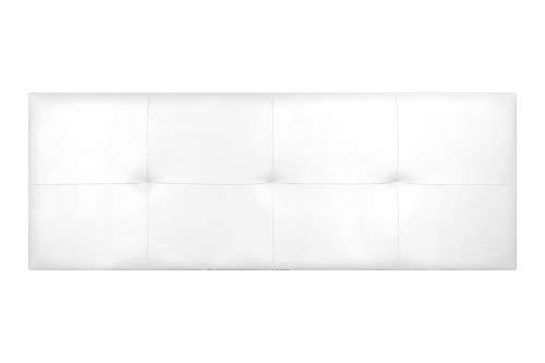 Imperial Relax | Cabecero Tapizado Polipiel Cuadros | Acolchado en Espuma | Grosor 5cm | Herrajes para Colgar incluidos (Cama 135 (145x50), Blanco)