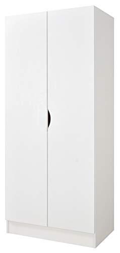 Leomark Blanc Armoire à Deux Portes - Roma - penderie pour vêtements, Style scandinave, Meubles pour Enfants, équipement pour la Chambre des Enfants, Dim: 161,5 (H) cm