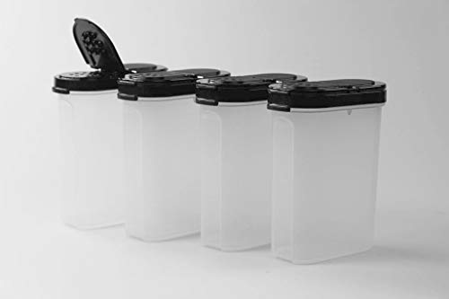 Tupperware Gewürz-Riese 270 ml (4) schwarz Gewürz Behälter Gewürzbehälter groß 37582