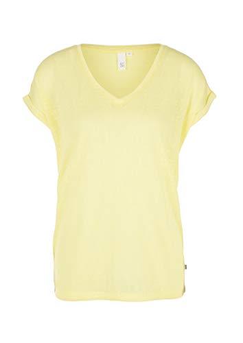 Q/S designed by - s.Oliver Damen T-Shirt mit Flammgarnstruktur Lemon Sorbet S