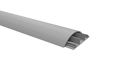 Habengut Fußboden-Kabelführung aus PVC Grau, halbrunde Kabelbrücke für bis zu 3 Kabel / Breite 7,5 cm, Länge 1,5 m