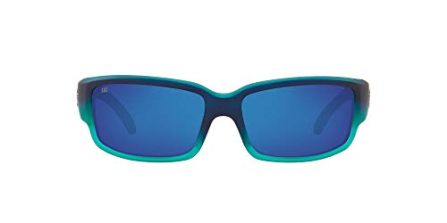 Costa Del Mar Men's Caballito Polarized Rectangular Sunglasses, Matte Caribbean Fade/Grey Blue Mirrored Polarized-580G, 59 mm