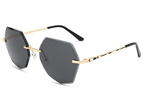 JINZUN Gafas de Sol a la Moda Tendencia Gafas de Sol con Bordes de Cristal sin Marco Gafas de Sol Anti-Ultravioleta Gafas de Sol de Diamante Todo Gris
