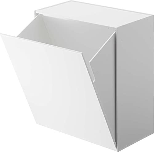 山崎実業(Yamazaki) ウォールトイレポット & 収納ケース ホワイト 約W20.5XD12.2~23.2XH24cm タワー フラップ式 小物収納 ゴミ箱 5429