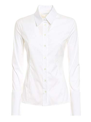 PATRIZIA PEPE - Camicia Donna A Maniche Lunghe Slim Fit in Popeline Stretch CC0356 A01-40, Bianco