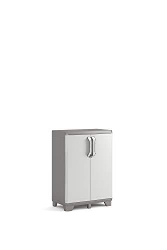 Keter Tidy - Armario bajo, 68 x 39 x 97 cm, Gris Oscuro/Gris Claro, 68 x 39 x 97 cm