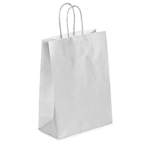 Oceano Bolsa de papel kraft,,Bolsas de Papel con Asas de Colores,Bolsa de Regalo Kraft con Asa,Bolsas de Fiesta de Regalo con Asas,Bolsas Papel Regalo 25UD (22x31x12, PLATA)