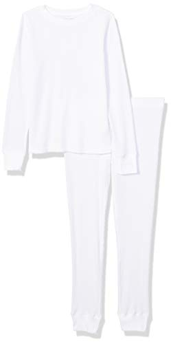 Amazon Essentials Girl's Thermal Long Underwear Set, White, Small