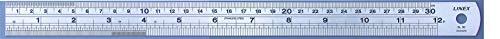 LINEX 100411042 Stahl-Lineal 30 cm lang und 1,9 cm breitmit cm und Zoll-Skala und Umrechnungstabelle auf der Rückseite (von Zoll auf mm)