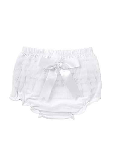 TSSOE Baby Mädchen Höschen Schichten Trainerhosen Rüschen Shorts Pumphose Unterhose Unterwäsche Windel Decken Weiss 74-80