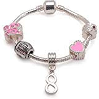 Liberty Charms Childrens Pink Happy 8th Birthday Silver Plated Charm Bracelet.Present for Girl with Gift Box (Other Sizes Available)