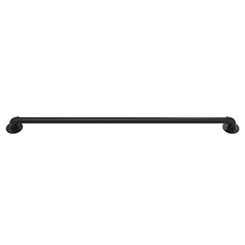 ERRU Handläufe Metall Loft Treppenhandlauf Verzinktes Rohr, rutschfeste Treppenstützen-Kit für Den Innen- und Außenbereich, Unterstützt 200 Kg (Color : Black, Size : 100cm (3.3ft))