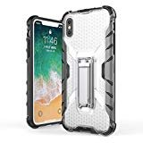 iPhone X case, TUPREX Metal Kickstand Case [Vertical and Horizontal Stand] Drop Protection Shock Absorption Crystal Cover case Hard PC Back with Flexible TPU Bumper for iPhone X - White