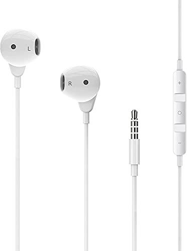 Xotulv イヤホン iphoneイヤホン 有線 イヤホンマイク いやほん HiFi イヤフォン マイク付きイヤフォン ステレオイヤホン 音量調整 通話対応 騒音低減 3.5mm ジャック iphone/Android/PC 多機種対応 (white)