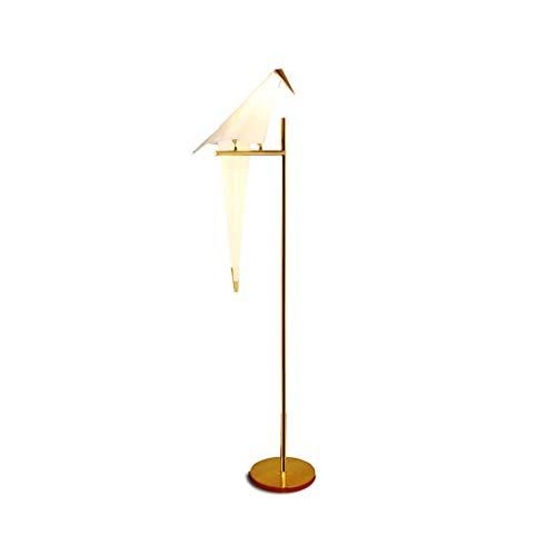 Lámpara de pie Art Deco Bird Paper Lámpara de pie Dormitorio Sala de estar Soporte de lámpara Origami Light Estudio Mesita de noche Mesa de lectura Lámpara de piso dorada Luz de Pie (Color : Single)