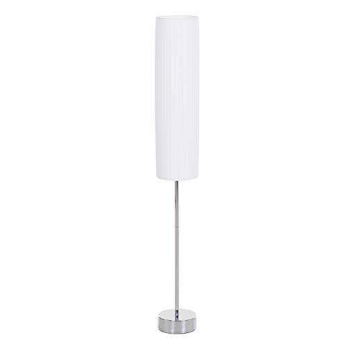 HOMCOM Lámpara de Pie Moderna para Dormitorio Estudio Salón con Luces E27 40W y Pulsador de Pie con Base de Acero Inoxidable 120cm Color Blanco