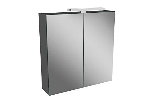 Lanzet LED Spiegelschrank L2 / Badschrank mit LED Leuchte/Maße (B x H x T): ca. 60 x 68 x 14,5 cm/Möbel fürs Bad oder WC/Badezimmer Schrank mit 2 Türen/Korpus: Schwarz Glanz/Front: Spiegel