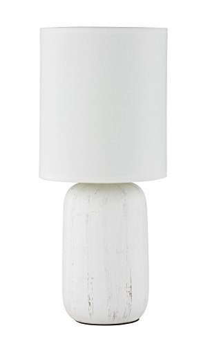 Preisvergleich Produktbild Reality Leuchten R50411001 Clay,  Tischleuchte,  Keramik,  E14,  Weiß,  15 x 15 x 35 cm