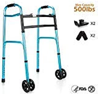 """OasisSpace Heavy Duty Folding Walker, Bariatric Walker with 5"""" Wheels for Seniors Wide Walker Supports up to 500 lbs [Walker Accessories Included]"""
