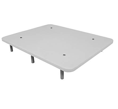 Duérmete Online Base Tapizada 3D Reforzada | Anti Ruido con 5 Barras de Refuerzo | Válvulas de Ventilación | 6 Patas de Altura 30cm, Blanco, 90x180