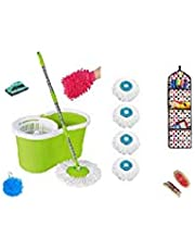 CLOUDHUB Microfiber 360 Degree Easy Magic Cleaning Mop Floor Cleaner with Bucket Set (Pink with 2)