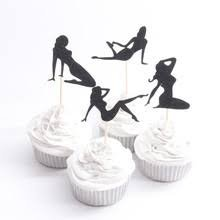 Pole Dancers Cupcake Toppers Bachelorette Party Birthday Bride & Groom Bridal Shower New Years Party Cupcake Toppers Sexy Pin Up Silhouettes