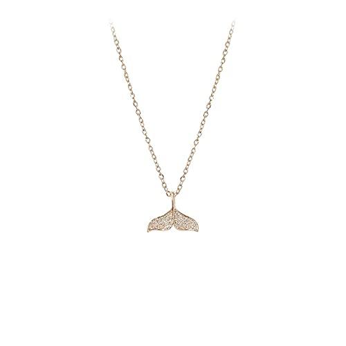 YQMJLF Collar Moda Accesorios Collares Mujer Nuevo Collar de delfín de Cola de pez, Red Femenina, Celebridad, Temperamento Simple, Micro Diamante, Cadena de clavícula Corta para Mujer