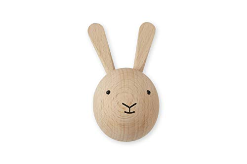 OYOY Mini - Wandhaken aus Holz Hase - Garderobenhaken Garderobe für Kinder / Kinderzimmer - 8 x 6 x 4,5 cm