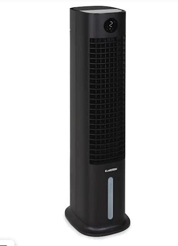 Klarstein Skytower Grand Smart enfriador de aire, purificador y humidificador de aire, wifi, control por App, intensidad: 480 m³/h, 80 W, depósito: 8 l, 2 acumuladores de frío, negro