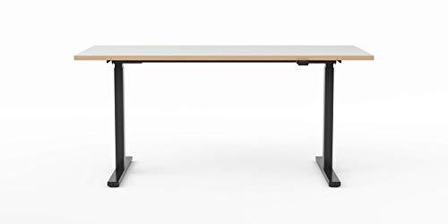 Modulor elektrisch höhenverstellbarer Schreibtisch T1 aus Stahl mit Tischplatte 2,5 x 80 x 160 cm, weiß | schwarzes Gestell