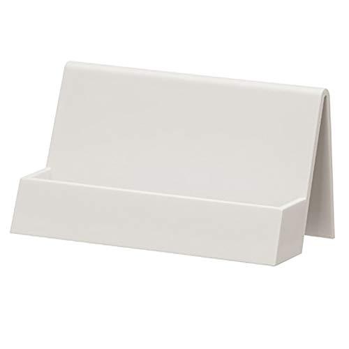 RUIYELE Tarjetero de visita para escritorio, soporte de plástico para tarjetas de visita, soporte de exhibición, estante de tarjeta de nombre de escritorio,color blanco