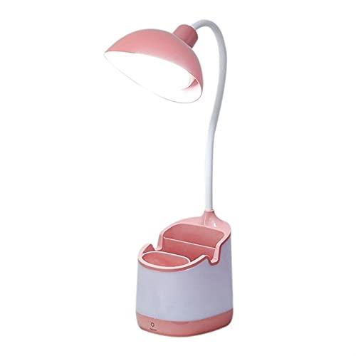 Toolbooth Lámpara de Mesa de LED Recargable, lámpara de Escritorio de Cuello de cisneck Flexible Touch-Dimmable con Soporte de Pluma, luz de Lectura de protección Ocular para niño con teléfono HODER