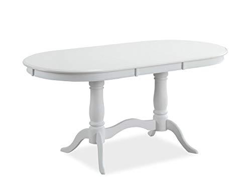 MHF Savona - Mesa extensible (120-159 cm, base de madera, ovalada, clásica)