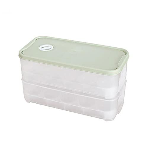 Portauova Bagagli Vassoio Frigo Contenitore Uova Box Impilabile Doppi Strati 20 Fori Con Coperchio Cucina Forniture Stoccaggio Uovo Verde Per La Cucina