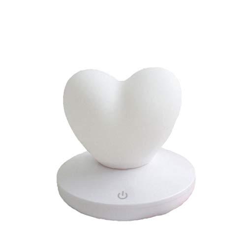MaylFre Noche del Amor del Corazón 3D De Luz LED De Carga USB Lámpara De Mesa De Control Táctil para Sala De Estar Dormitorio Decoración Blanco 1 Pieza