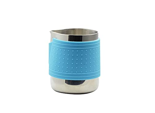 Coffee Culture Stainless Steel Milk Frothing Jug with Silicone Sleeve, Blue, 350 ml Capacity