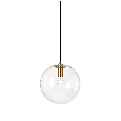 Wings of wind - Glaskugel Lampenschirm E27 Pendelleuchte Kronleuchter Transparent Droplight Hängelampe Schwarz Lampenfassung (Gold, 15cm)