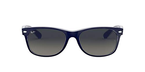 Ray-Ban RB2132 New Wayfarer Sunglasses, Matte Blue On Transparent/Grey Gradient, 55 mm