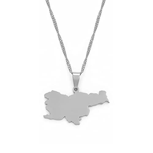 LIUZIXI Collares con Colgante De Mapa De Eslovenia, para Mujeres Y Hombres, Colgante De Mapa De País De Eslovenia, Cadena Nacional Patriótica, Unisex, Amuleto De Moda, Joyería De La Amistad, Rega