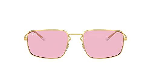 Ray-Ban Rb3669f Evolve Gafas de sol rectangulares de ajuste asiático, Arista/Rosa a Azul Fotocromático,