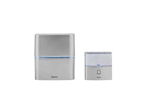 Legrand, Funkklingel-Set Premium batteriebetrieben mit MP3-Funktion, 1x wasserdichtem Klingeltaster (IP54), 1x Gong mit 30 Melodien, 100m Reichweite    , 094271