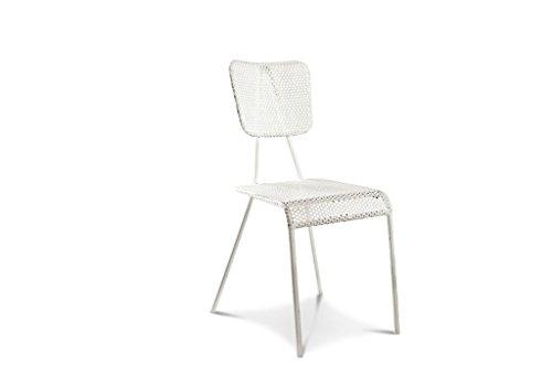Silla Blanca metálica - Pátina de Acabado a Mano, Producto 100% de Metal | Metal Perforado, línea