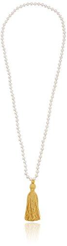 Satya Jewelry Classics Mala-Halskette Süßwasserperle Lotus Quaste 81,3 cm