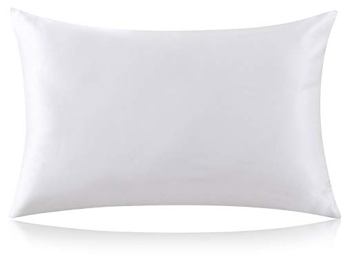 """ZIMASILK 100% Mulberry Silk Pillowcase for Hair and Skin,with Hidden Zipper,Both Side 19 Momme Silk,600 Thread Count, 1pc(Standard 20''x26"""", Ivory)"""
