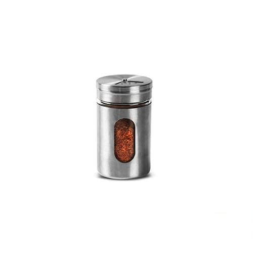Novea - Vaso per spezie in acciaio inox, per pepe e condimenti, guarnizione a forma di chiocciola