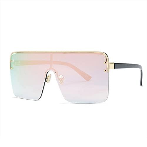 HAIGAFEW Gafas De Sol De Gran Tamaño para Mujer Gafas De Sol De Una Pieza Hombre Mujer Gafas Graduadas Uv400 Proteger Los Ojos-Rosa
